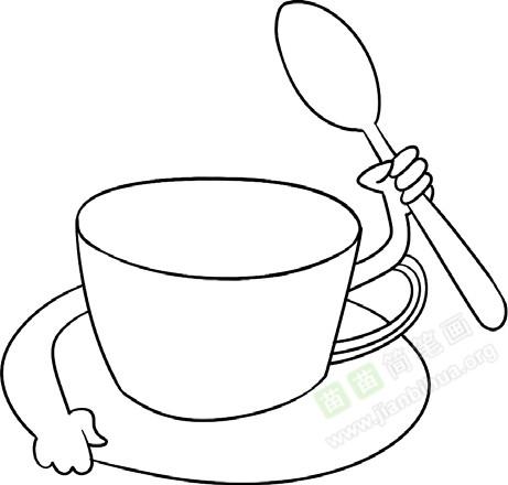 3. 杯子下边有托盘-咖啡杯简笔画图片教程