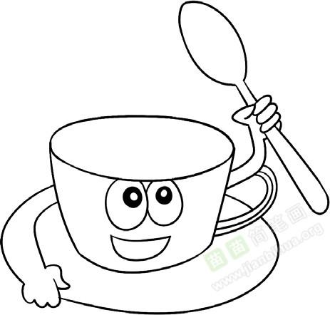 4. 开心表情杯上显-咖啡杯简笔画图片教程