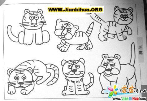 画老虎的简笔画