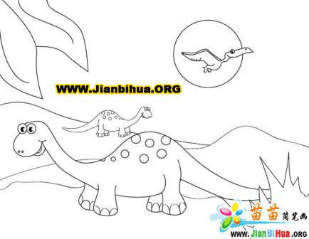 关于恐龙的简笔画涂色卡3张