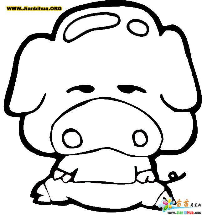 卡通猪简笔画作品欣赏