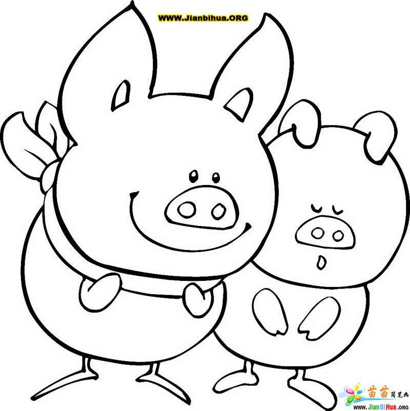 两只小猪简笔画图片图片