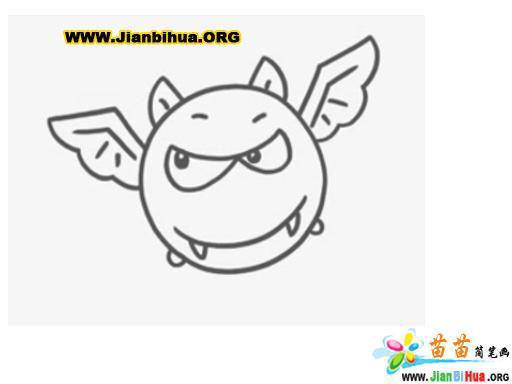 夜行动物简笔画――蝙蝠