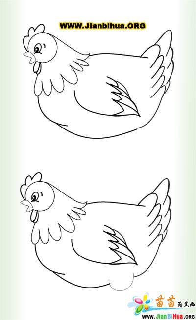 小鸡妈妈的简笔画图片-卡通动物-美歪网www.meiwai
