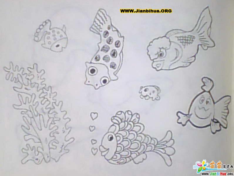 简笔画 鱼 用铅笔画的卡通人物