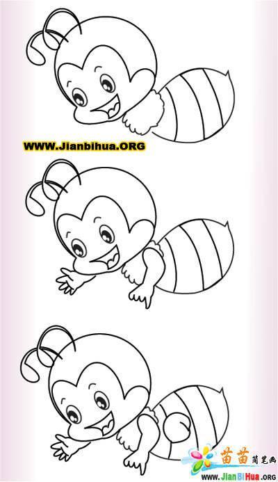 蜜蜂简笔画_卡通小蜜蜂简笔画_可爱的小蜜蜂简笔画