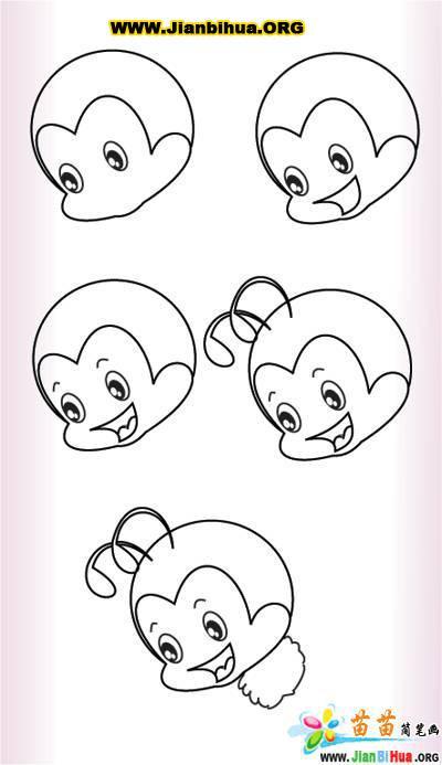 吃香蕉的猴子简笔画动物 吃香蕉的猴子动物简笔画步骤图片大全_简笔
