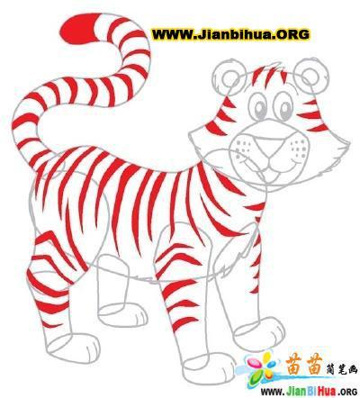 老虎简笔画的画法图片 第5张