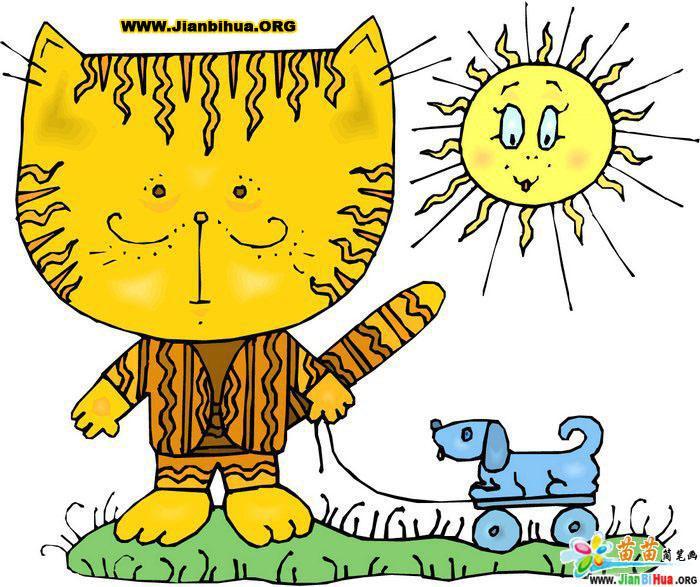 幼儿园简笔画素材图片 小花猫