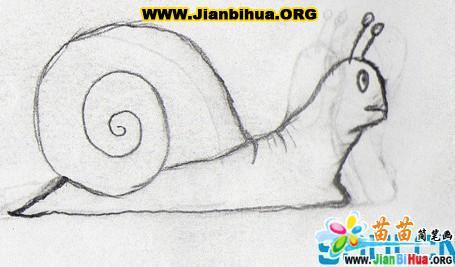 蜗牛简笔画与铅笔画图片 第2张