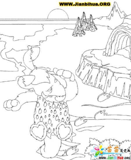 史前宠物动物简笔画18张(第10张)