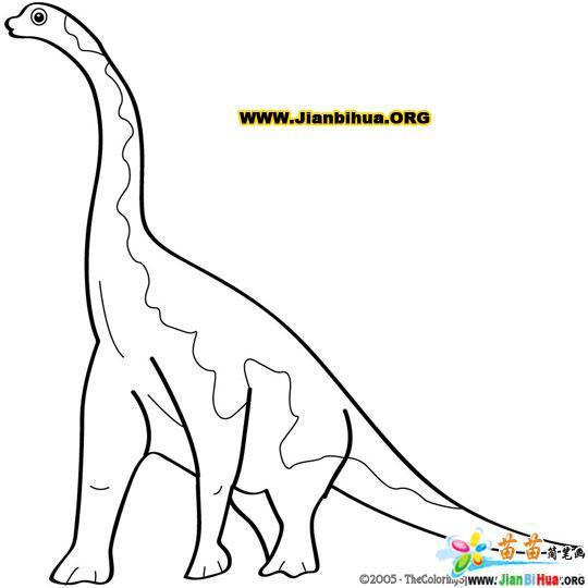 关于恐龙的简笔画涂色卡3张 第2张