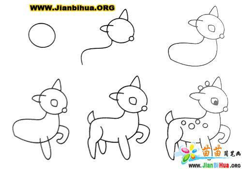 鹿头的简笔画图片_恐龙简笔画_卡通简笔画_蛋糕简笔画 - 黑马素材网