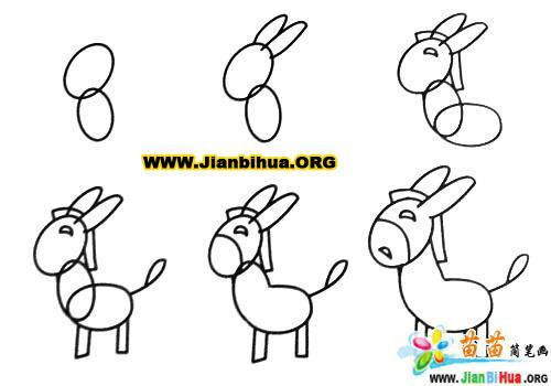 驴的简笔画3张图片 第4张