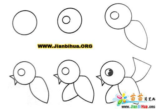 小鸟简笔画的画法欣赏-卡通动物-美歪网www.meiwai