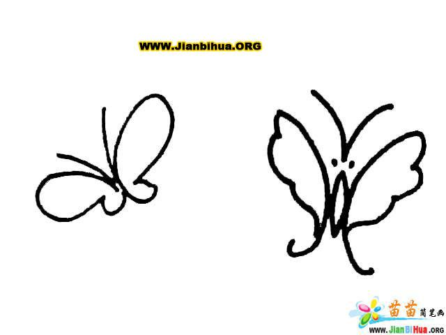 儿童简笔画彩色蝴蝶简笔画大全 漂亮的黄蝴蝶