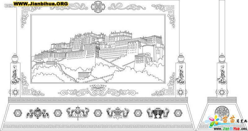 西藏布达拉宫简笔画