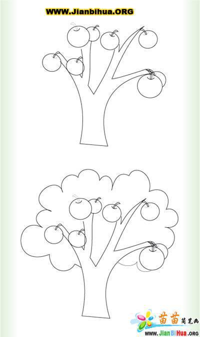 苹果树图片简笔画_苹果树的简笔画作品(第4张)