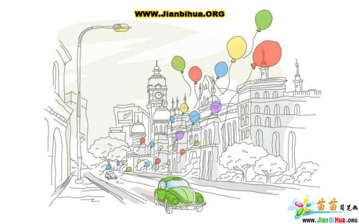 手绘城市风光 彩绘 绘画书法 文化艺术