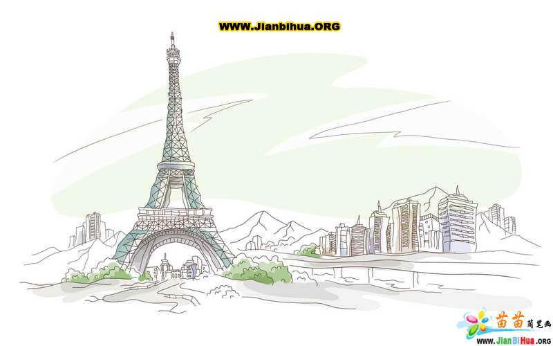 建筑物简笔画-城市风景线条画图片40张 第3张