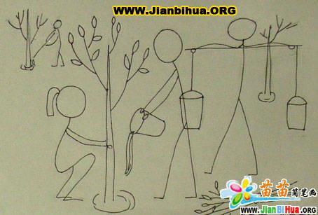3张植树的简笔画图片