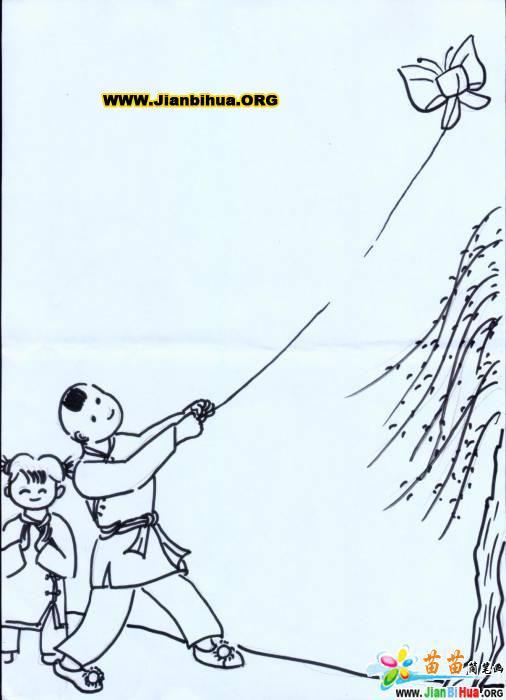 放风筝简笔画与牧童放牛的简笔画图片