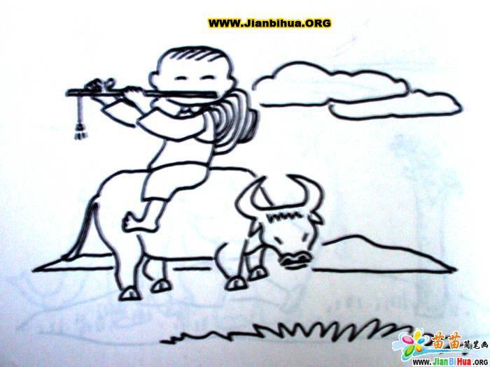 2张放风筝和牧童放牛的简笔画图片图片