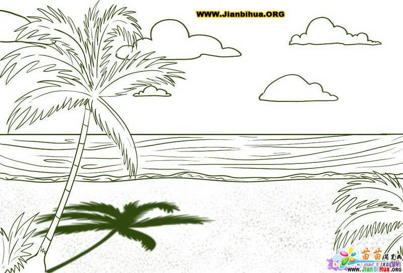 风景简笔画 美丽的沙滩风景