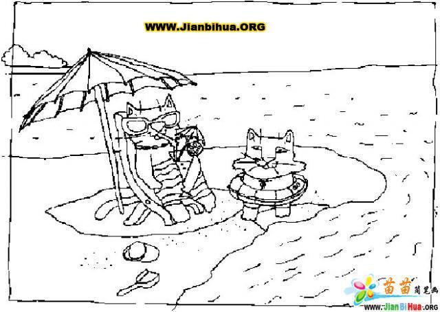 沙滩的风景画简笔画10张 第7张