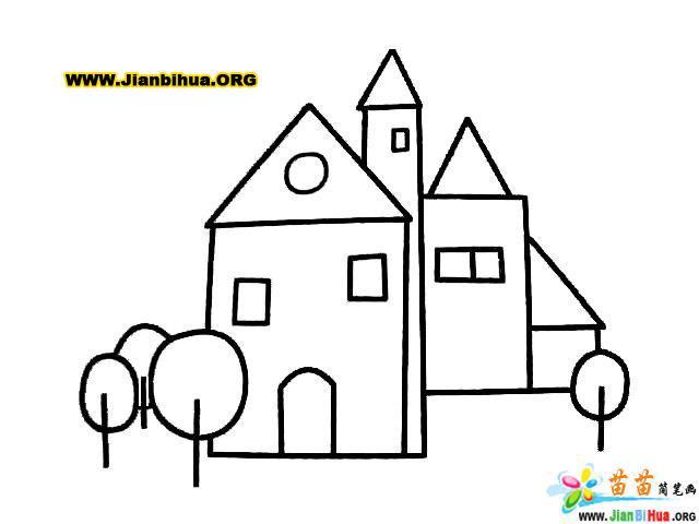 古堡建筑简笔画