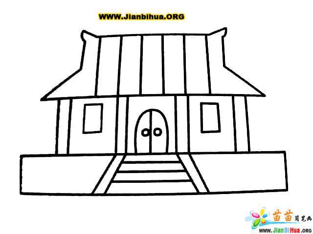寺院简笔画图片