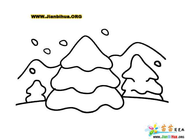 雪松林简笔画图片