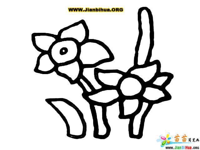 幼儿花朵简笔画图片 幼儿黑白简笔画花朵
