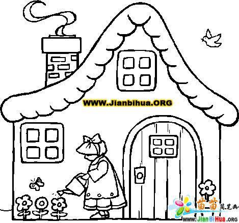 樹房子的簡筆畫_幼兒園房子簡筆畫_蘑菇房子彩色簡 .