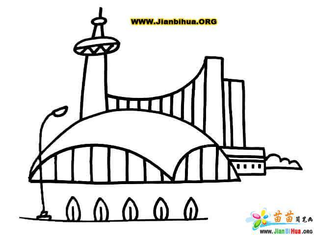 上海陆家嘴建筑简笔画图片