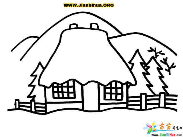 雪景简笔画的画法