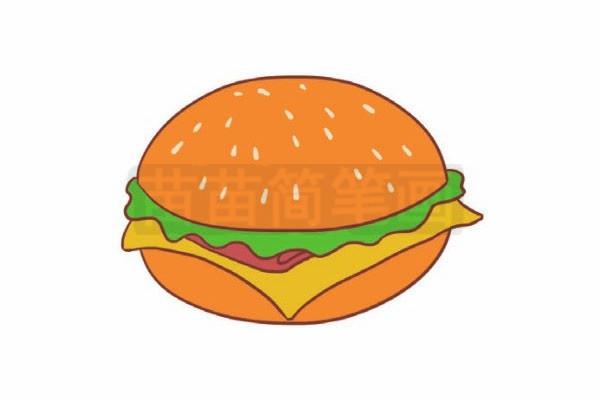 汉堡简笔画图片步骤六