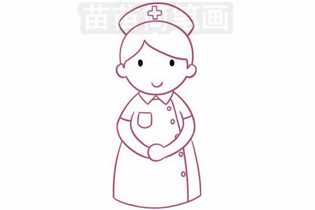 护士简笔画图片步骤四