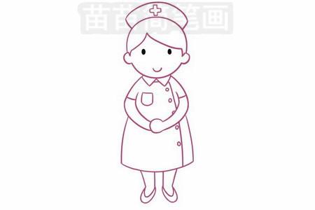 护士简笔画图片步骤五