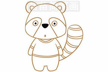 浣熊简笔画图片步骤五