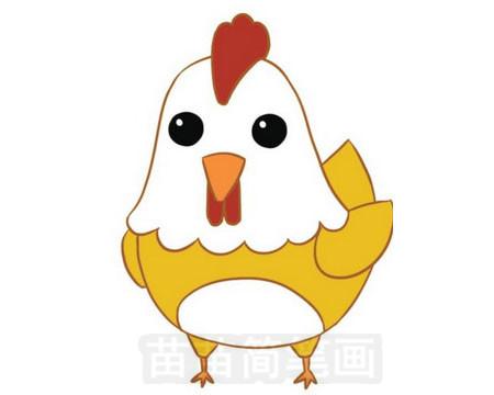 小鸡简笔画彩色图片大全 教程