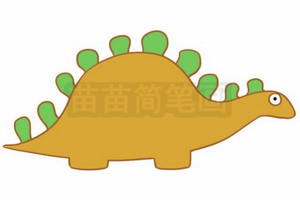 恐龙简笔画图片步骤四