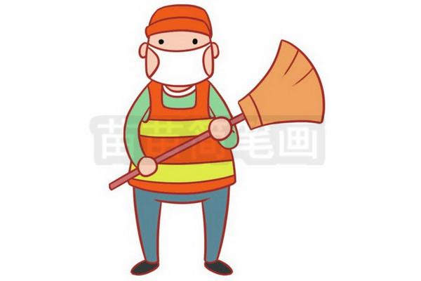 清洁工人简笔画图片步骤六