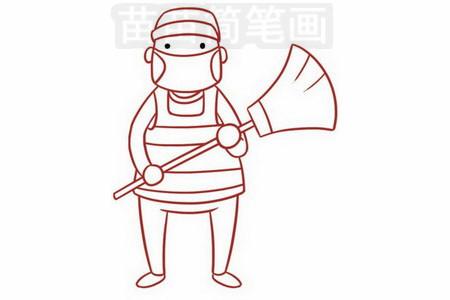 清洁工人简笔画图片步骤五