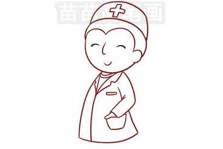 医生简笔画图片步骤五
