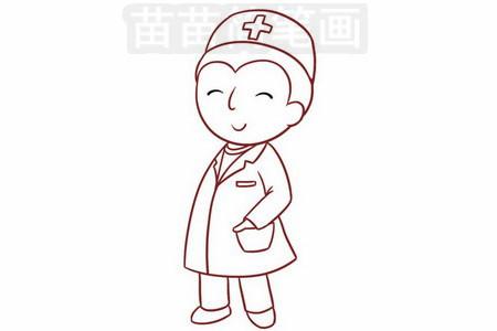 医生简笔画图片步骤六
