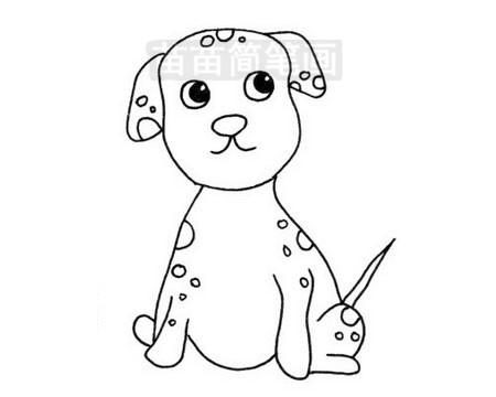 斑点狗简笔画图片大全,教程