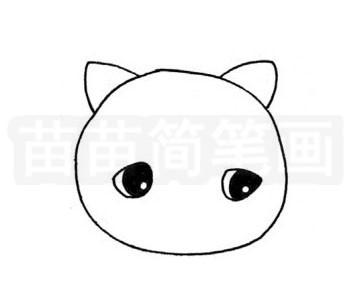 加菲猫简笔画图片步骤二