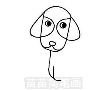 腊肠犬简笔画图片步骤三