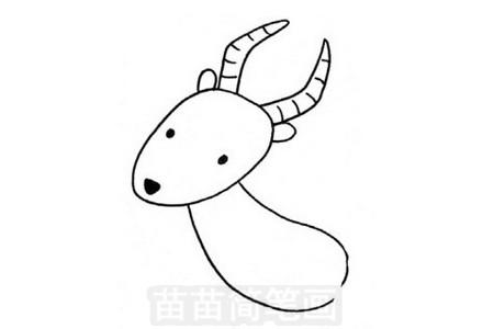 羚羊简笔画图片步骤三